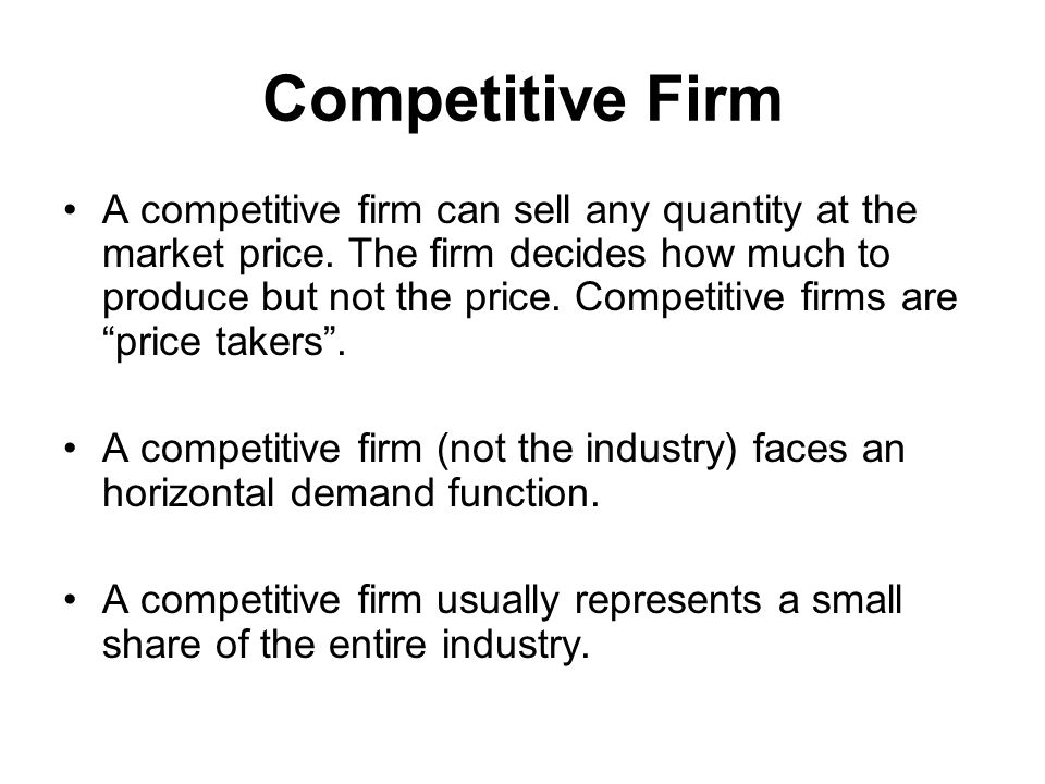 Competitive Firm