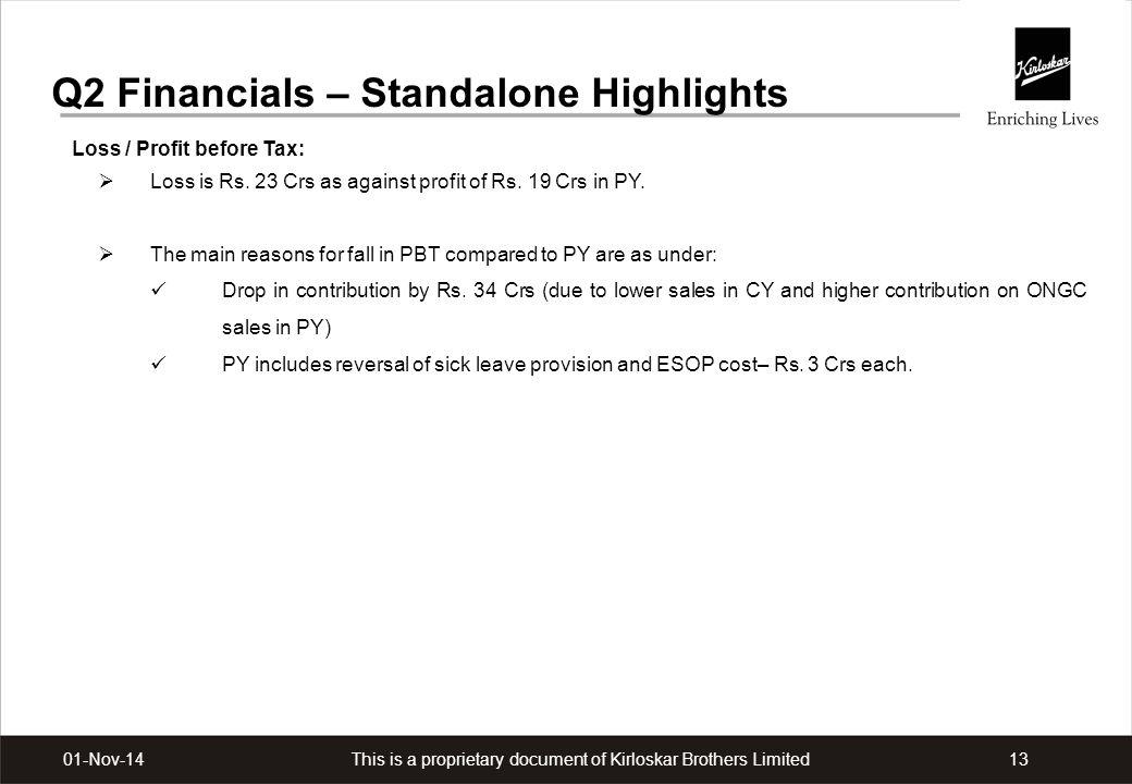 Q2 Financials – Standalone Highlights