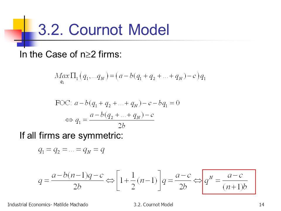 3.2. Cournot Model In the Case of n2 firms: