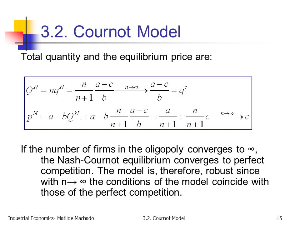 3.2. Cournot Model Total quantity and the equilibrium price are: