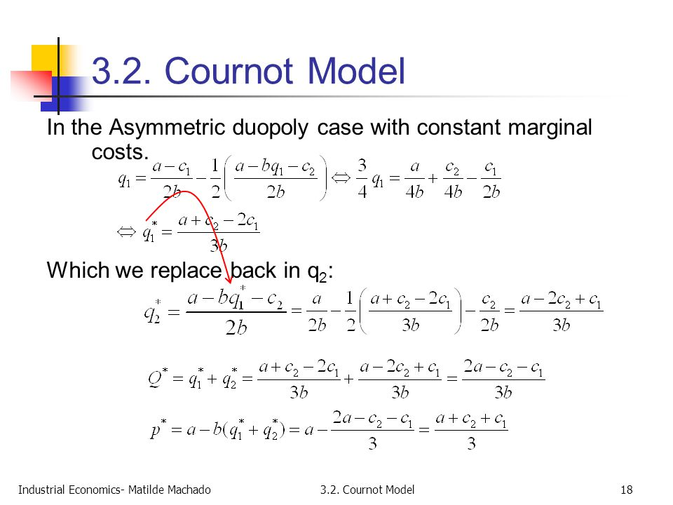 3.2. Cournot Model In the Asymmetric duopoly case with constant marginal costs. Which we replace back in q2: