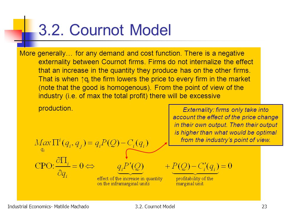 3.2. Cournot Model