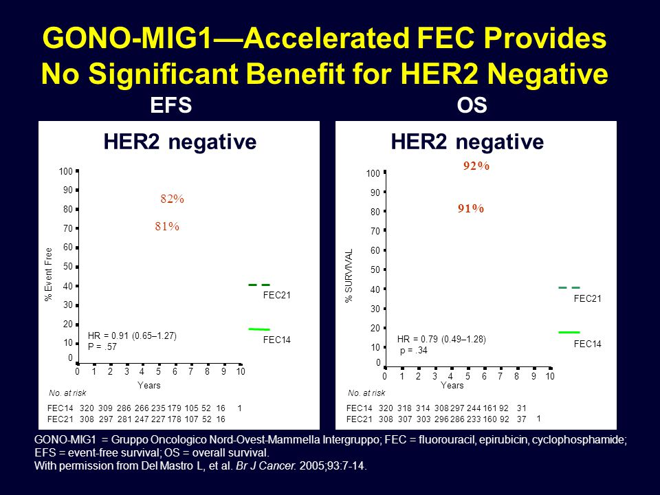GONO-MIG1—Accelerated FEC Provides No Significant Benefit for HER2 Negative