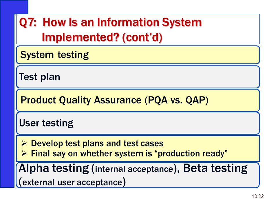 Q7: How Is an Information System Implemented (cont'd)