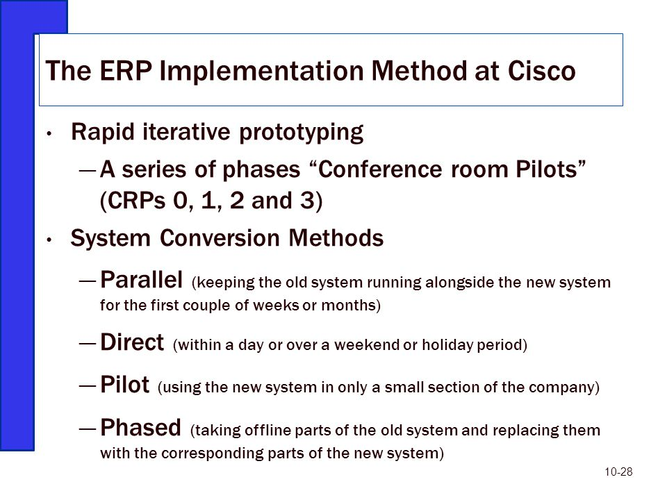 The ERP Implementation Method at Cisco
