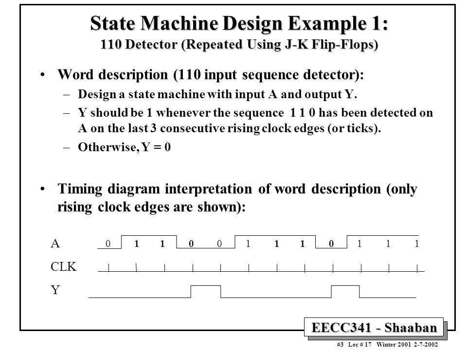 State Machine Design Example 1: 110 Detector (Repeated Using J-K Flip-Flops)