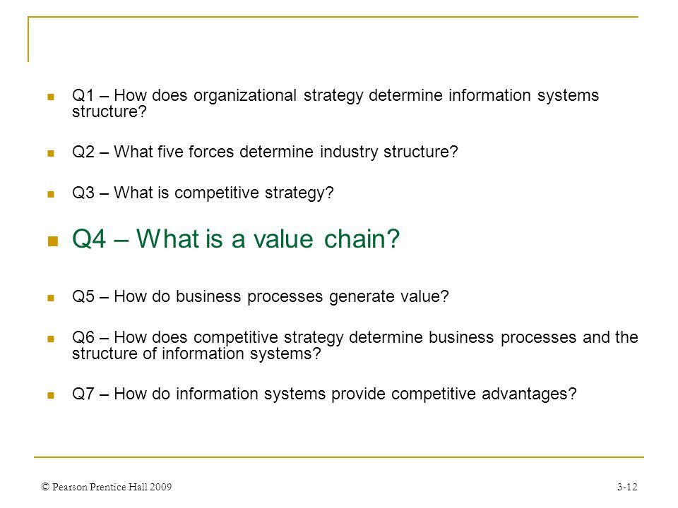 Q1 – How does organizational strategy determine information systems structure