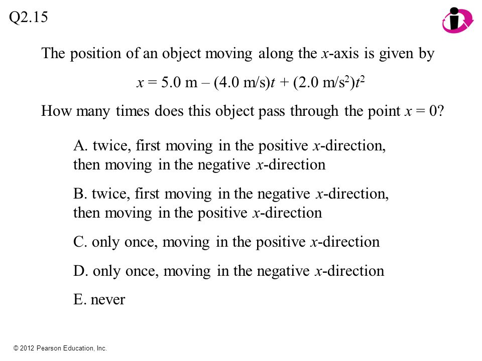 The position of an object moving along the x-axis is given by