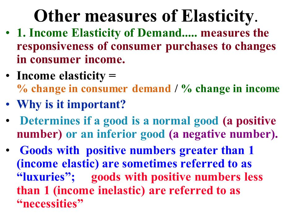 Other measures of Elasticity.