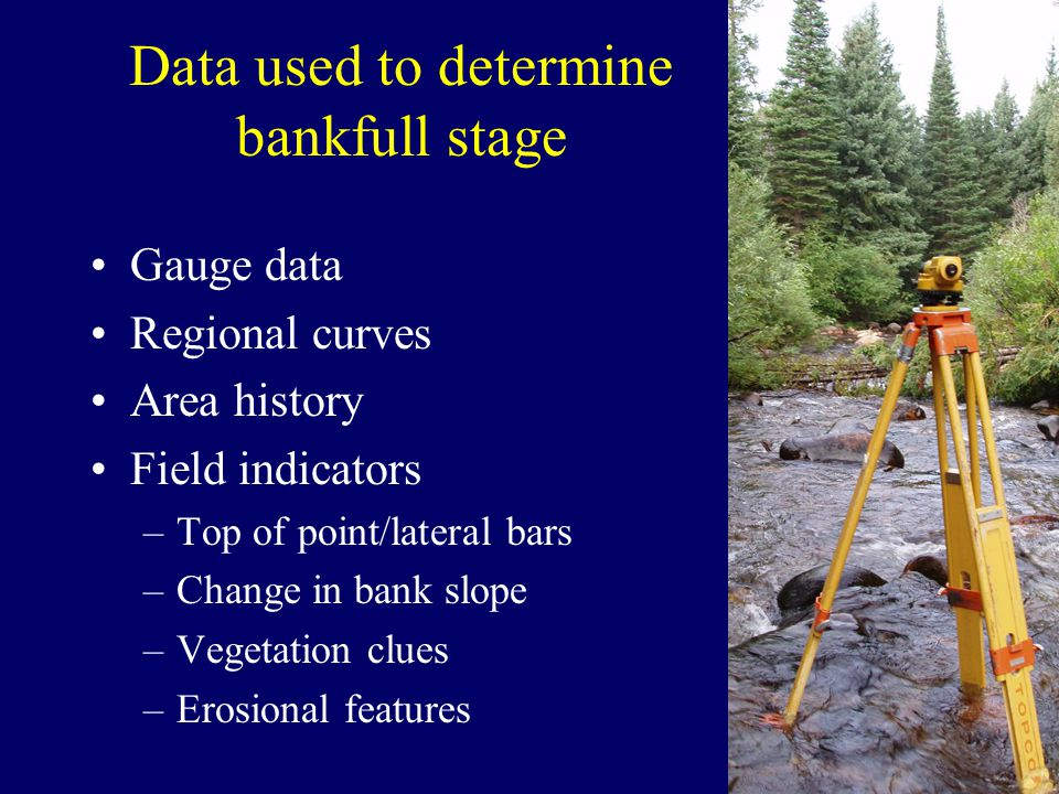 Data used to determine bankfull stage