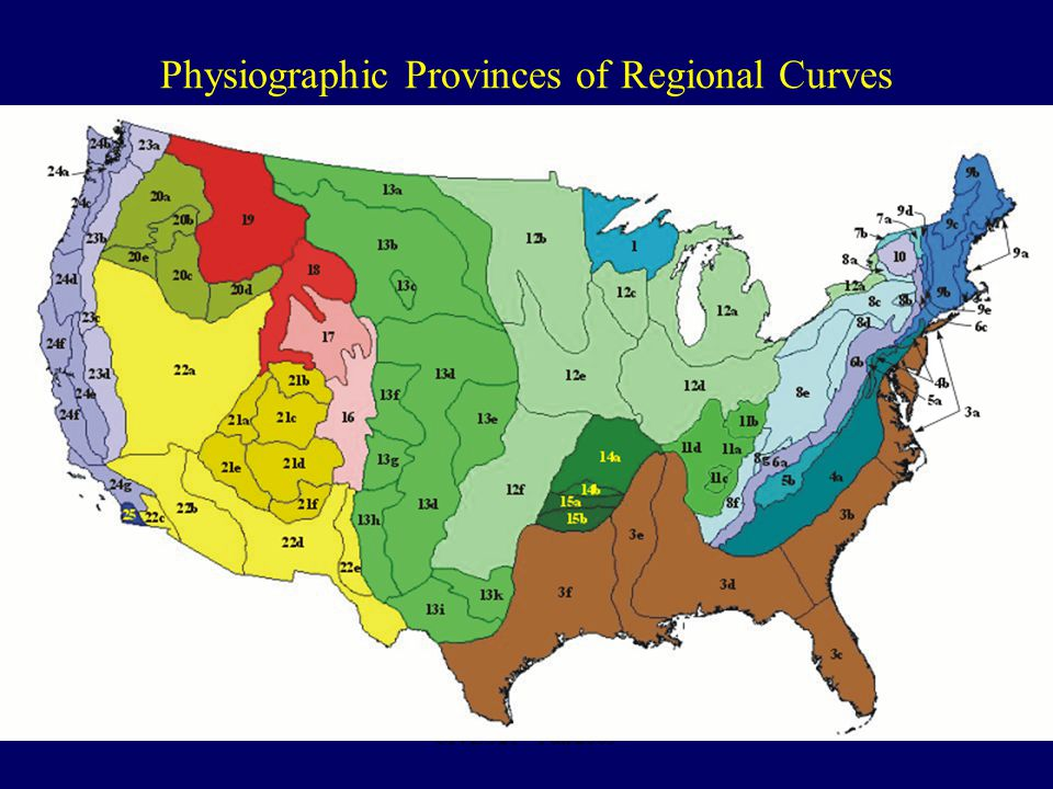 Physiographic Provinces of Regional Curves