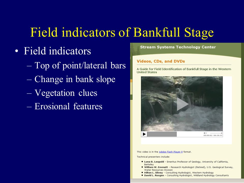Field indicators of Bankfull Stage