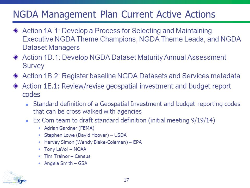 NGDA Management Plan Current Active Actions