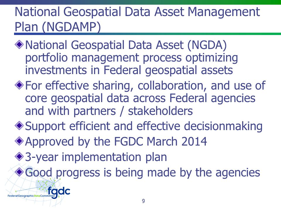 National Geospatial Data Asset Management Plan (NGDAMP)