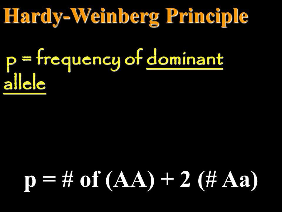 p = # of (AA) + 2 (# Aa) Hardy-Weinberg Principle