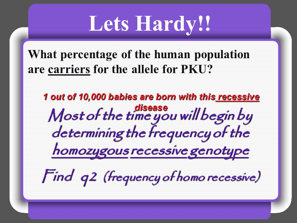 Lets Hardy!! What percentage of the human population are carriers for the allele for PKU