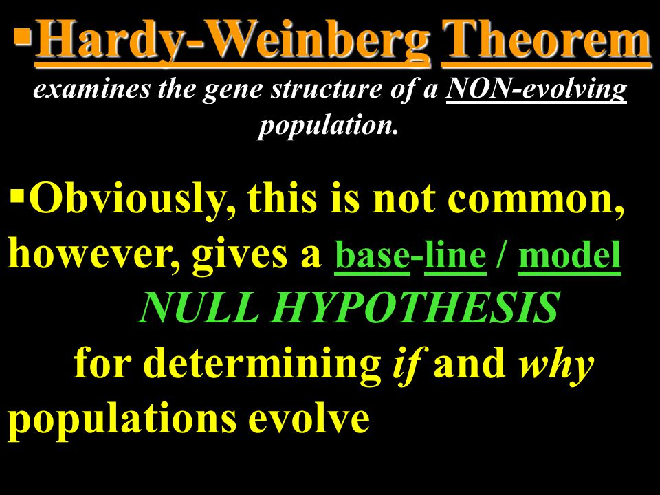 Hardy-Weinberg Theorem examines the gene structure of a NON-evolving population.