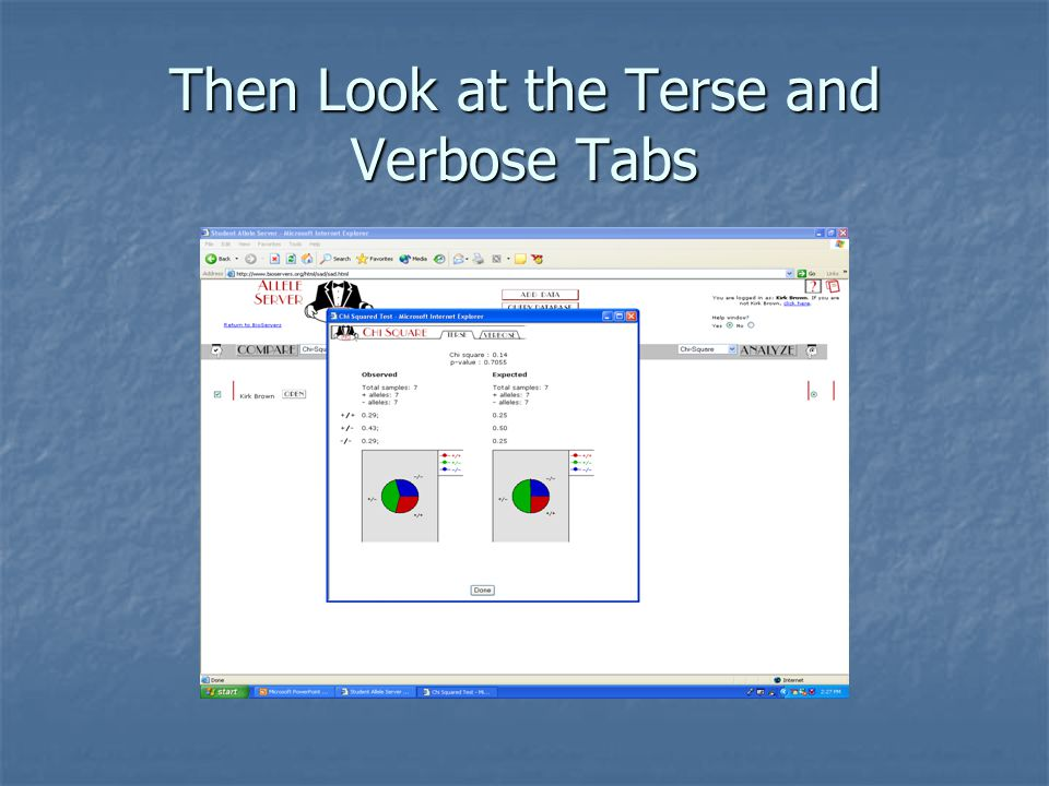 Then Look at the Terse and Verbose Tabs