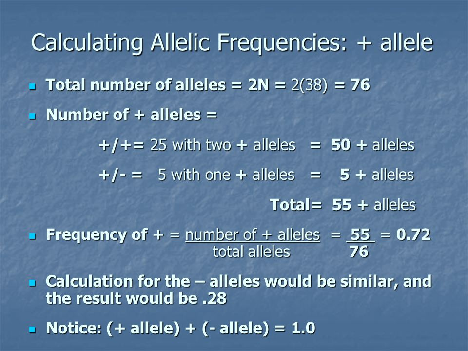 Calculating Allelic Frequencies: + allele