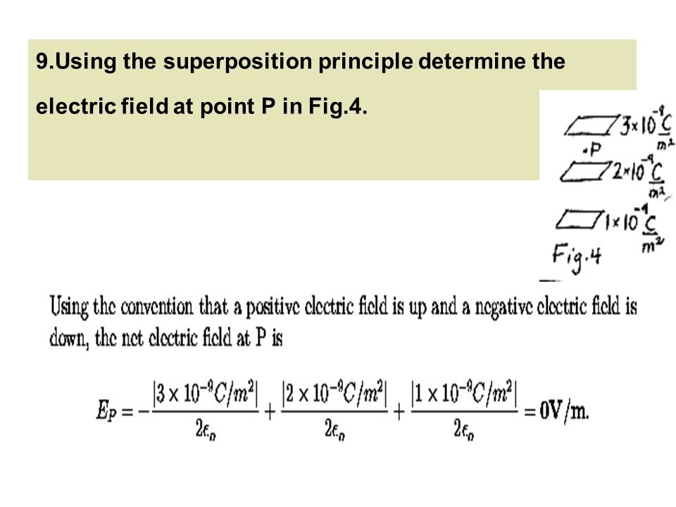 9.Using the superposition principle determine the electric field at point P in Fig.4.
