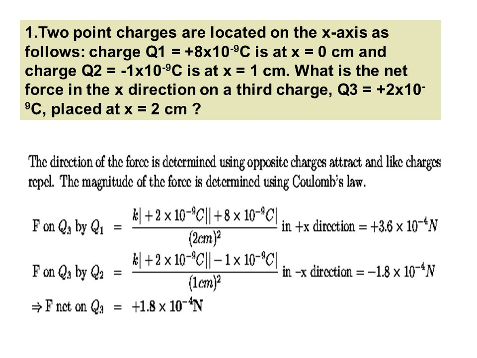Two point charges are located on the x-axis as follows: charge Q1 = +8x10-9C is at x = 0 cm and charge Q2 = -1x10-9C is at x = 1 cm.