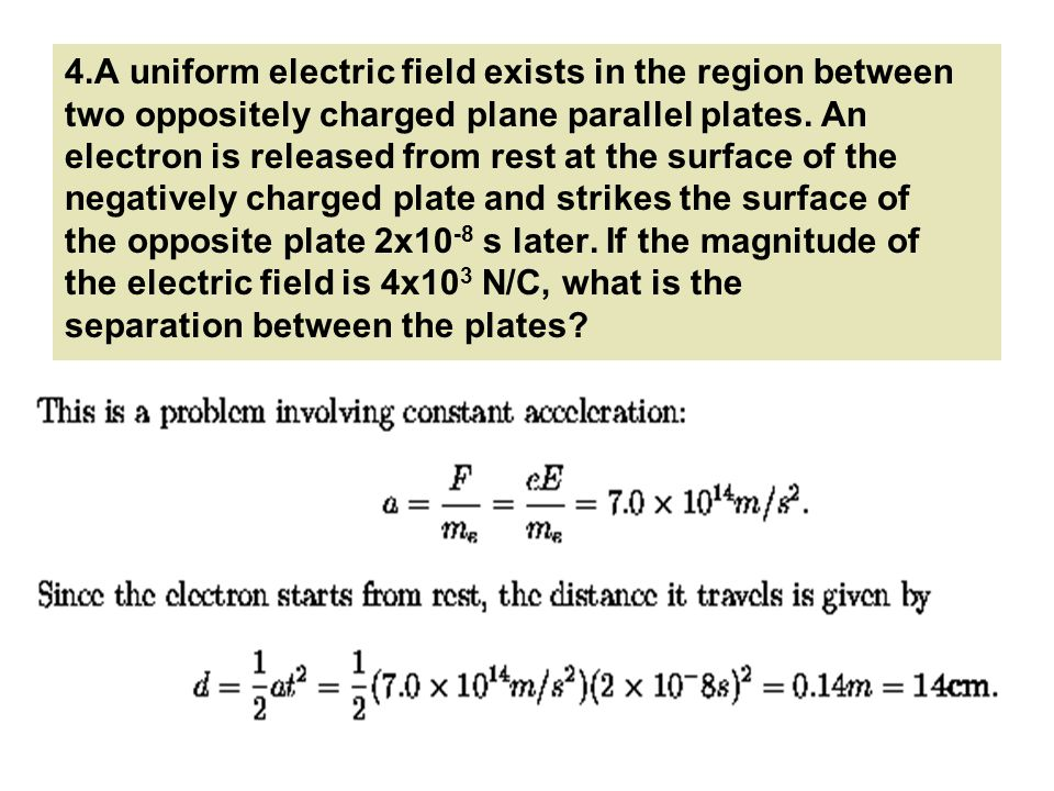 4.A uniform electric field exists in the region between two oppositely charged plane parallel plates.