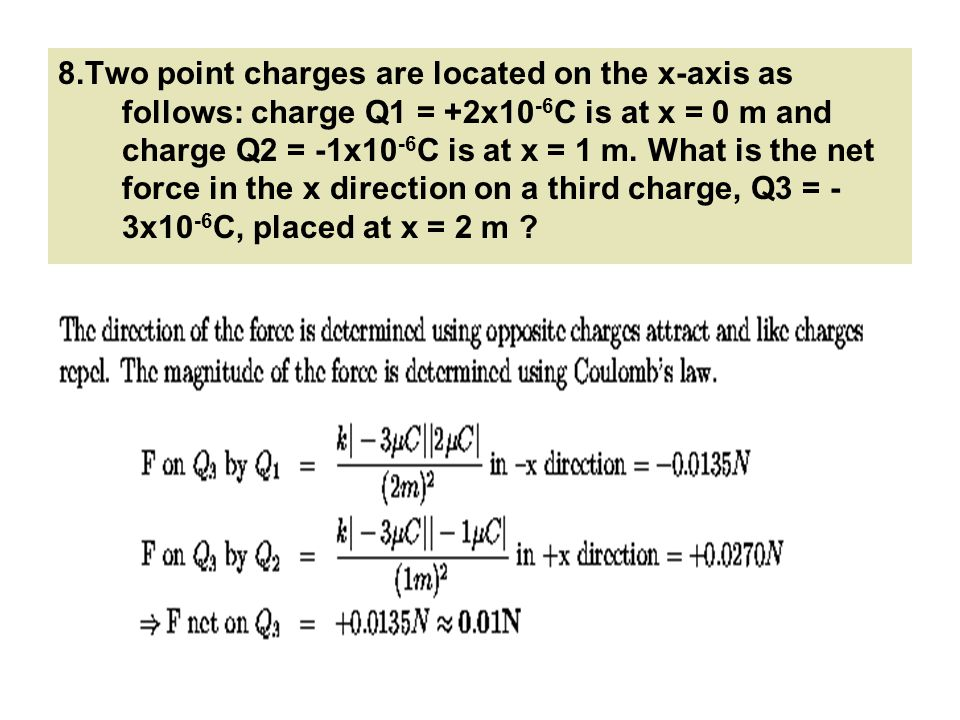 8.Two point charges are located on the x-axis as follows: charge Q1 = +2x10-6C is at x = 0 m and charge Q2 = -1x10-6C is at x = 1 m.