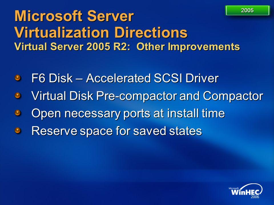 4/11/2017 7:14 AM 2005. Microsoft Server Virtualization Directions Virtual Server 2005 R2: Other Improvements.