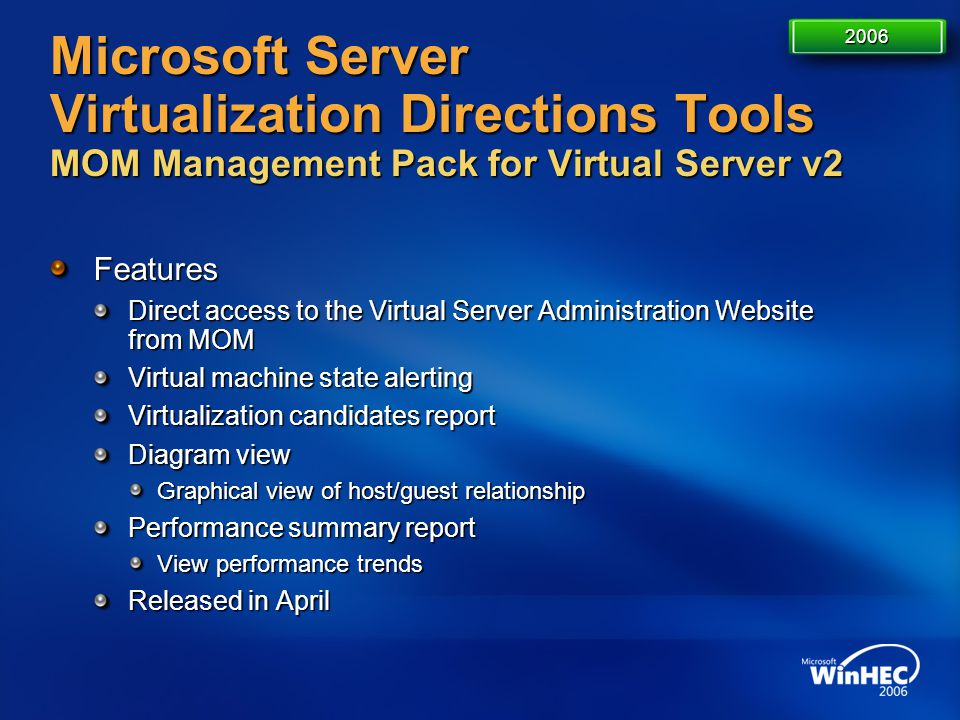4/11/2017 7:14 AM 2006. Microsoft Server Virtualization Directions Tools MOM Management Pack for Virtual Server v2.