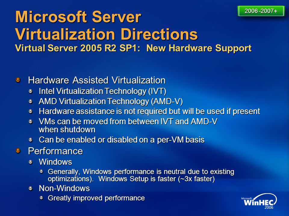 4/11/2017 7:14 AM 2006 -2007+ Microsoft Server Virtualization Directions Virtual Server 2005 R2 SP1: New Hardware Support.