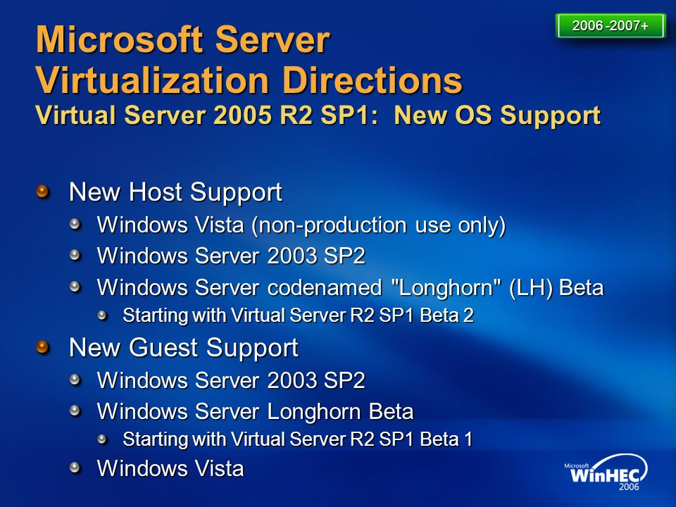 4/11/2017 7:14 AM 2006 -2007+ Microsoft Server Virtualization Directions Virtual Server 2005 R2 SP1: New OS Support.
