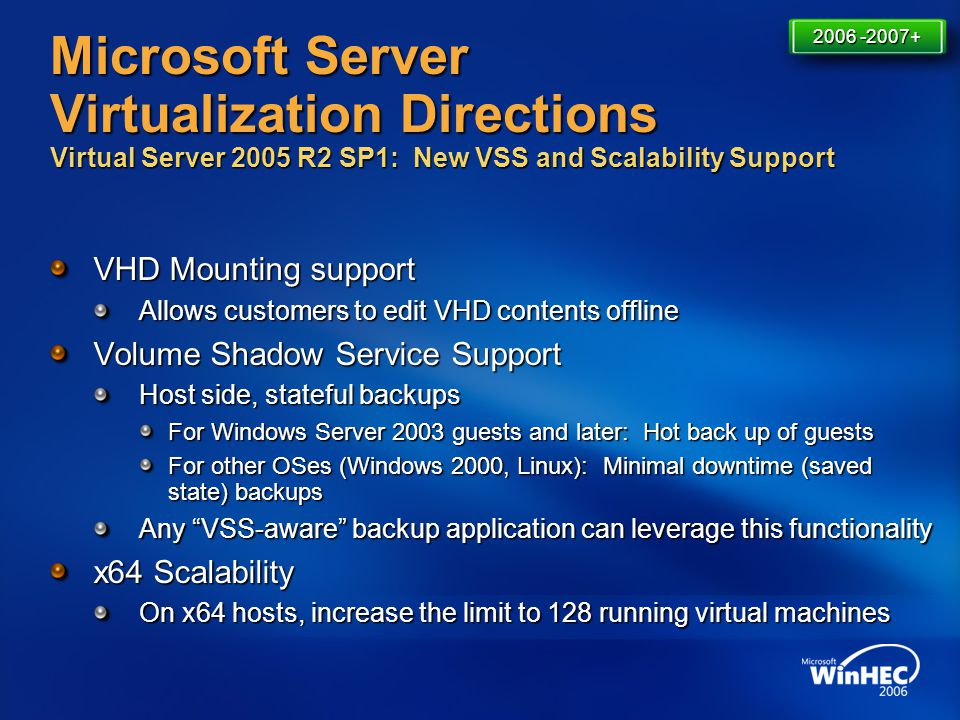 4/11/2017 7:14 AM 2006 -2007+ Microsoft Server Virtualization Directions Virtual Server 2005 R2 SP1: New VSS and Scalability Support.