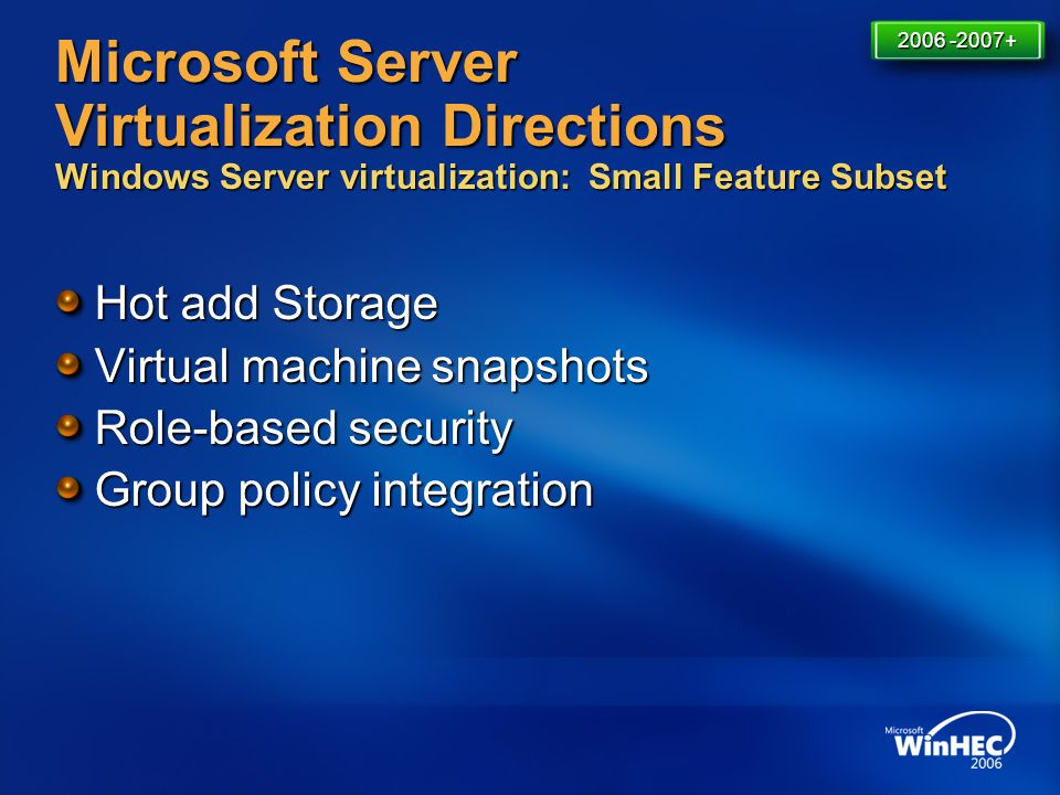 4/11/2017 7:14 AM 2006 -2007+ Microsoft Server Virtualization Directions Windows Server virtualization: Small Feature Subset.