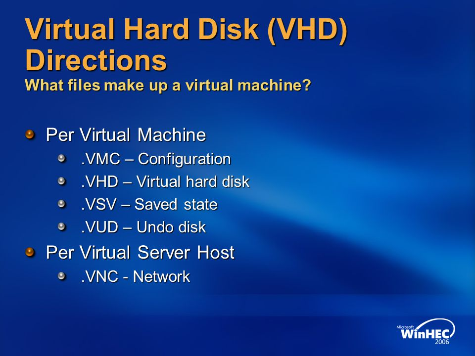 4/11/2017 7:14 AM Virtual Hard Disk (VHD) Directions What files make up a virtual machine Per Virtual Machine.