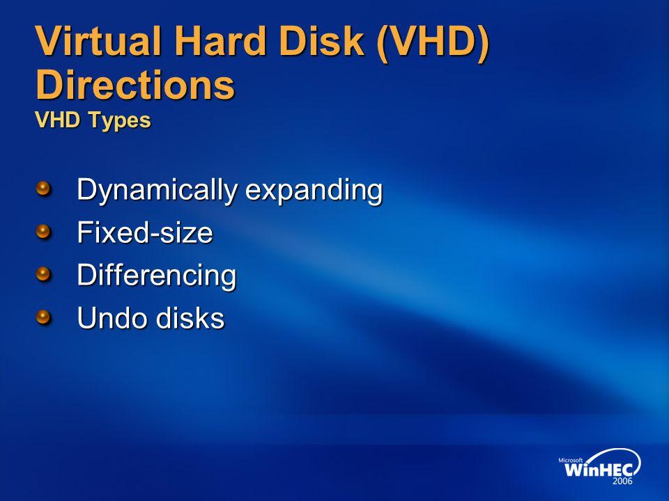 Virtual Hard Disk (VHD) Directions VHD Types