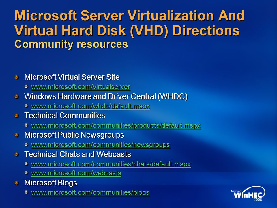 4/11/2017 7:14 AM Microsoft Server Virtualization And Virtual Hard Disk (VHD) Directions Community resources.