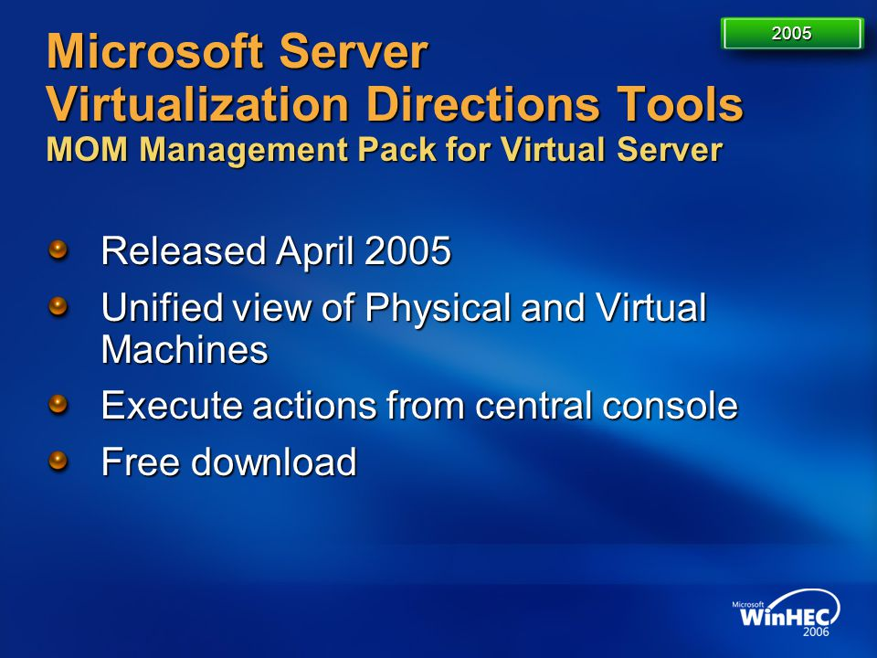 4/11/2017 7:14 AM 2005. Microsoft Server Virtualization Directions Tools MOM Management Pack for Virtual Server.