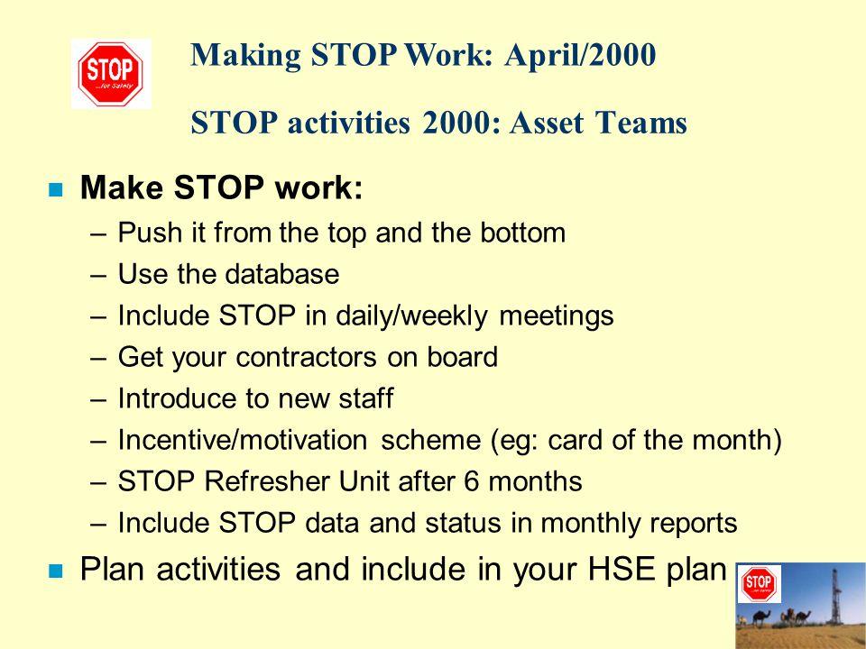 STOP activities 2000: Asset Teams