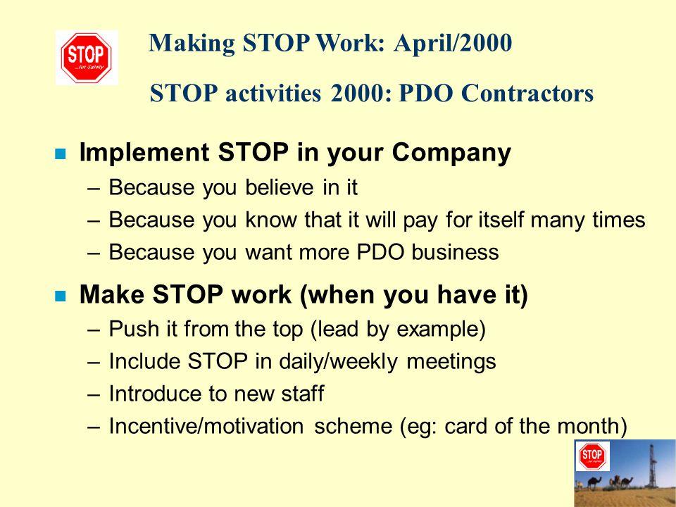 STOP activities 2000: PDO Contractors