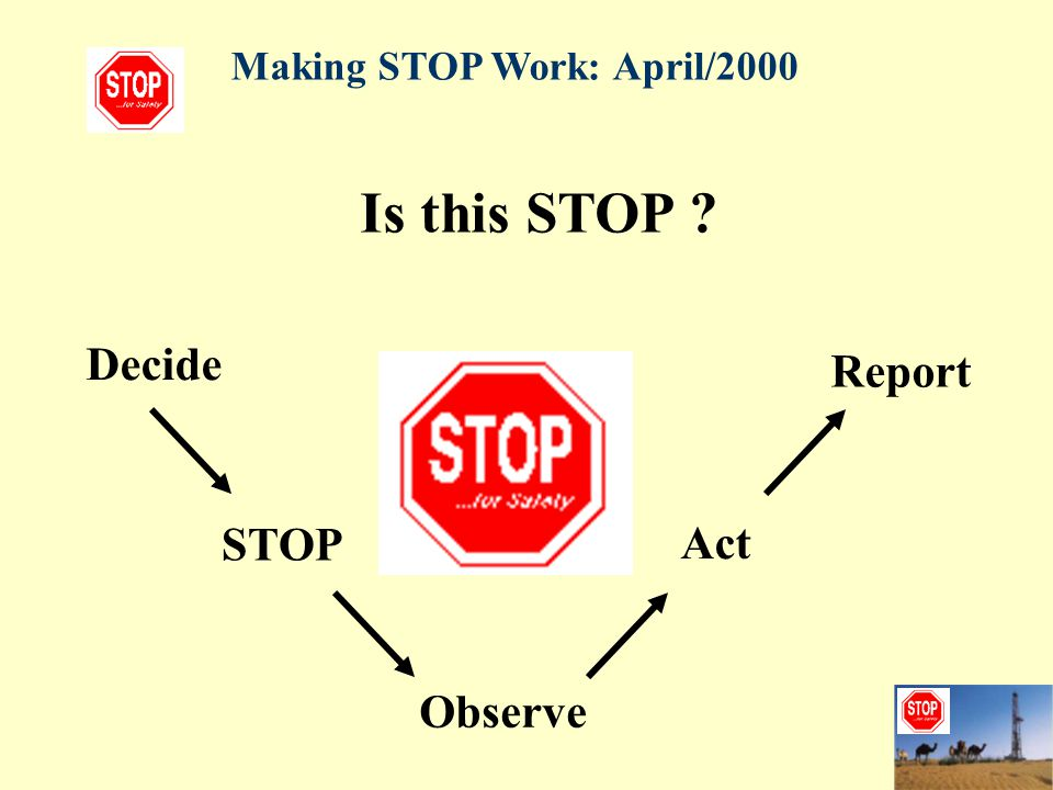 Is this STOP Decide Report STOP Act Observe