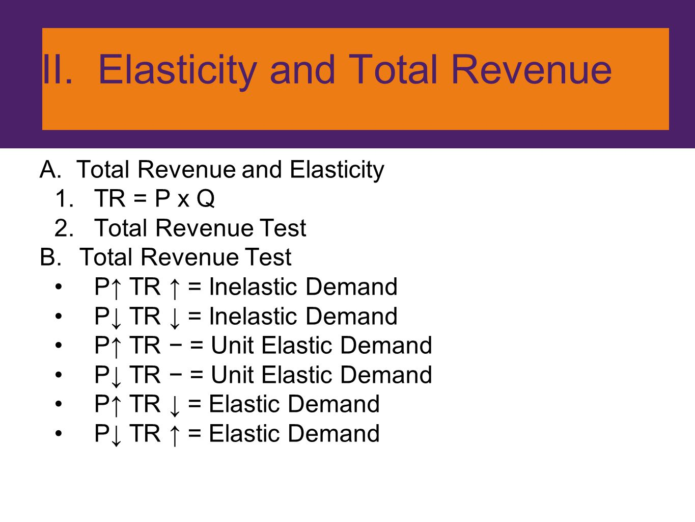 II. Elasticity and Total Revenue