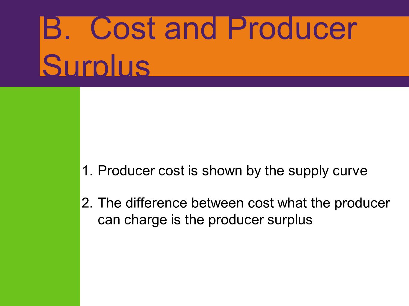 B. Cost and Producer Surplus