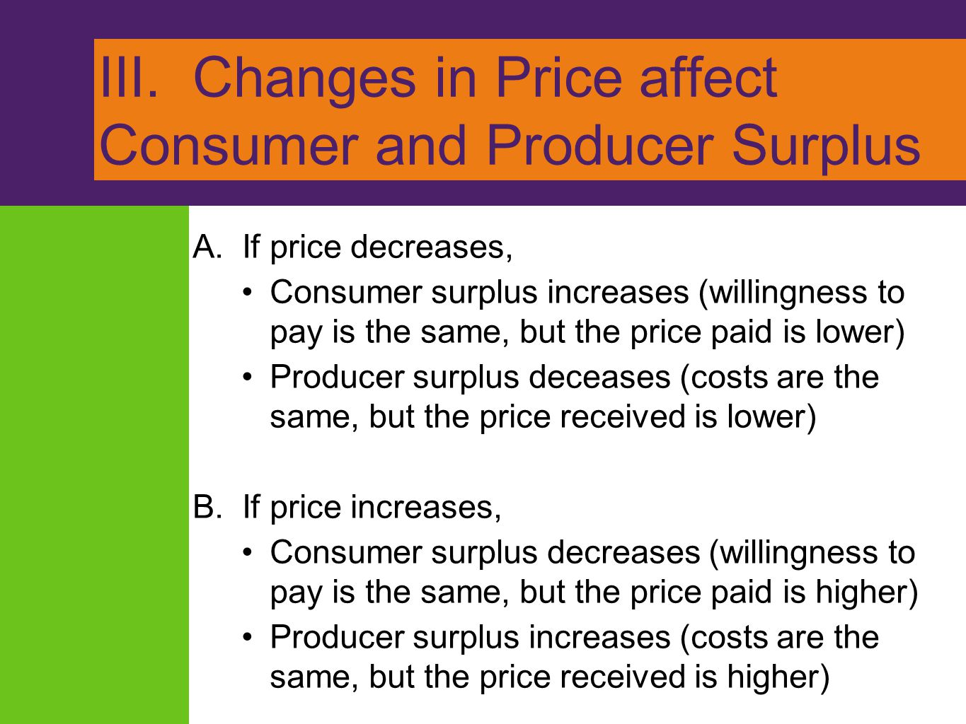 III. Changes in Price affect Consumer and Producer Surplus