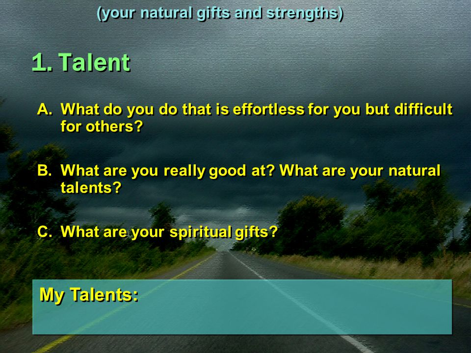 1. Talent My Talents: (your natural gifts and strengths)