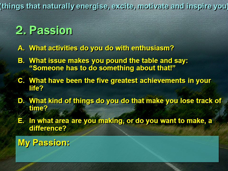 (things that naturally energise, excite, motivate and inspire you)