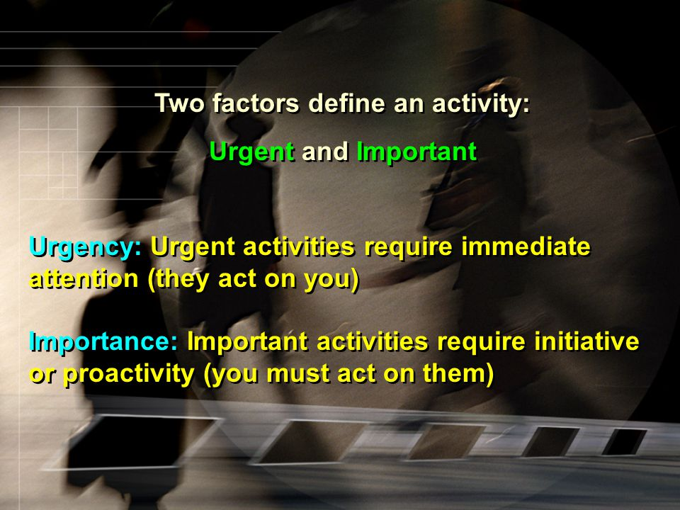 Two factors define an activity:
