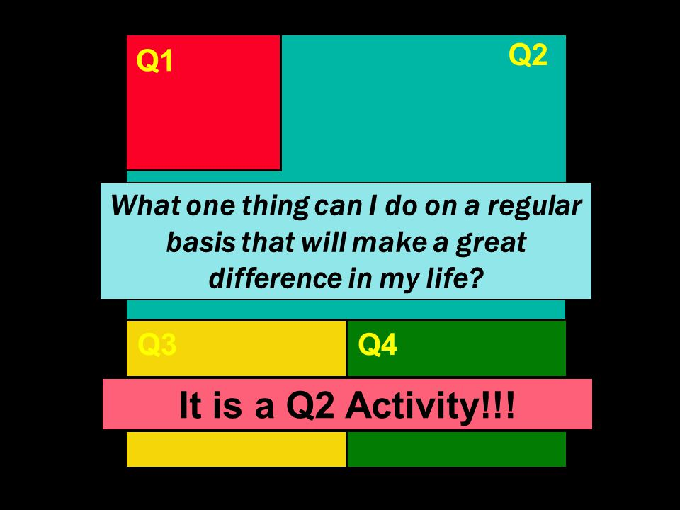 Q2 Q1. Q1. Q2. What one thing can I do on a regular basis that will make a great difference in my life