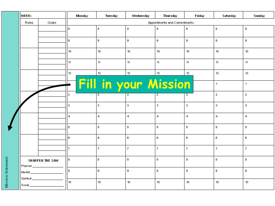 Fill in your Mission