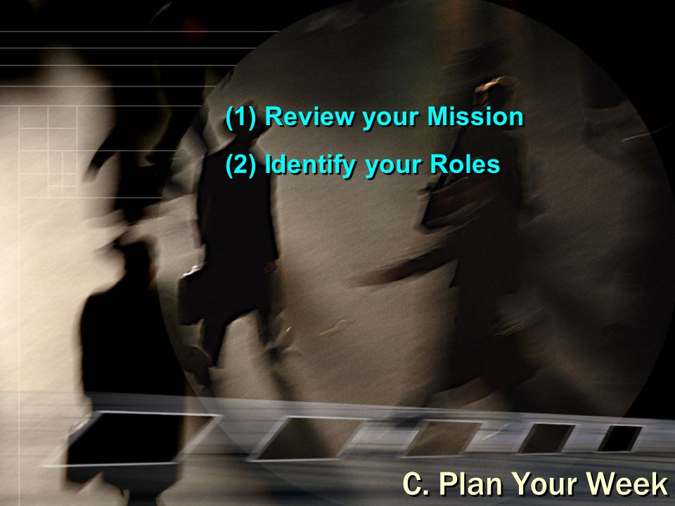 (1) Review your Mission (2) Identify your Roles C. Plan Your Week
