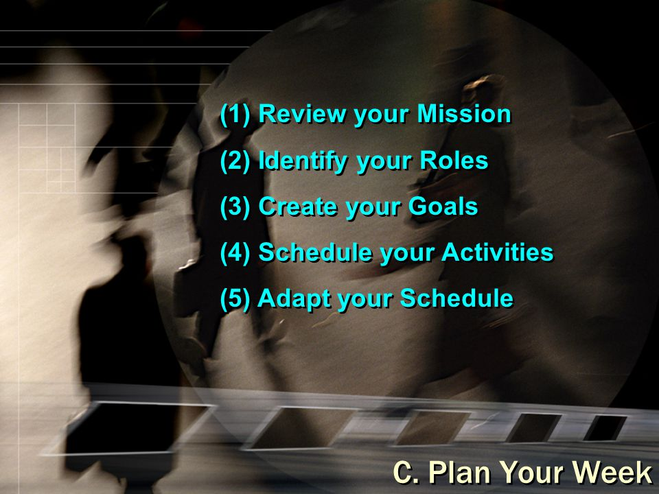 C. Plan Your Week (1) Review your Mission (2) Identify your Roles